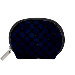 Circles2 Black Marble & Blue Grunge Accessory Pouch (small) by trendistuff