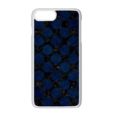 Circles2 Black Marble & Blue Grunge Apple Iphone 7 Plus White Seamless Case by trendistuff