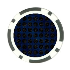 Circles1 Black Marble & Blue Grunge (r) Poker Chip Card Guard (10 Pack) by trendistuff