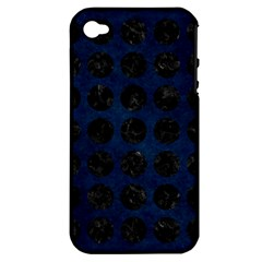 Circles1 Black Marble & Blue Grunge (r) Apple Iphone 4/4s Hardshell Case (pc+silicone) by trendistuff