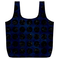 Circles1 Black Marble & Blue Grunge (r) Full Print Recycle Bag (xl) by trendistuff