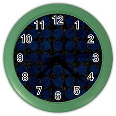 Circles1 Black Marble & Blue Grunge Color Wall Clock by trendistuff