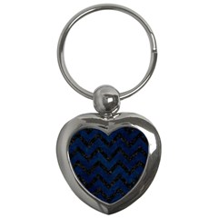 Chevron9 Black Marble & Blue Grunge (r) Key Chain (heart) by trendistuff