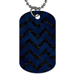 Chevron9 Black Marble & Blue Grunge (r) Dog Tag (two Sides) by trendistuff
