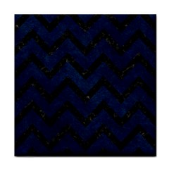 Chevron9 Black Marble & Blue Grunge (r) Face Towel by trendistuff