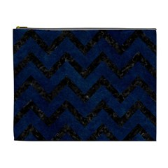 Chevron9 Black Marble & Blue Grunge (r) Cosmetic Bag (xl) by trendistuff