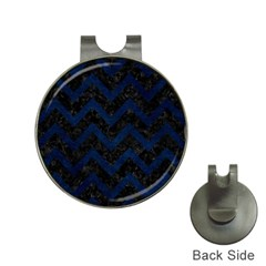 Chevron9 Black Marble & Blue Grunge Golf Ball Marker Hat Clip by trendistuff