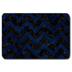 Chevron9 Black Marble & Blue Grunge Large Doormat by trendistuff