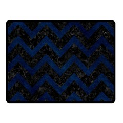Chevron9 Black Marble & Blue Grunge Double Sided Fleece Blanket (small) by trendistuff