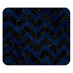 Chevron9 Black Marble & Blue Grunge Double Sided Flano Blanket (small) by trendistuff