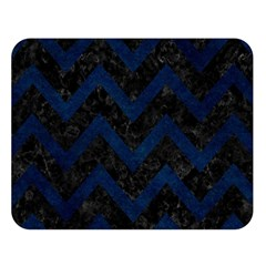 Chevron9 Black Marble & Blue Grunge Double Sided Flano Blanket (large) by trendistuff