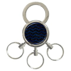 Chevron3 Black Marble & Blue Grunge 3 Ring Key Chain