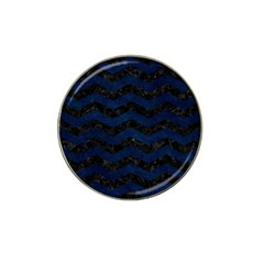Chevron3 Black Marble & Blue Grunge Hat Clip Ball Marker (4 Pack) by trendistuff