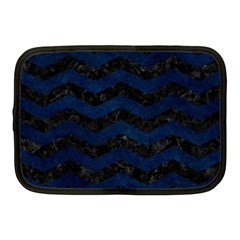 Chevron3 Black Marble & Blue Grunge Netbook Case (medium) by trendistuff