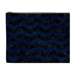 Chevron3 Black Marble & Blue Grunge Cosmetic Bag (xl) by trendistuff