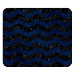 Chevron3 Black Marble & Blue Grunge Double Sided Flano Blanket (small) by trendistuff