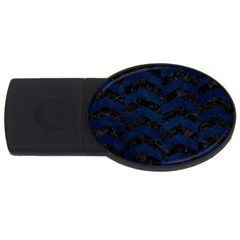Chevron2 Black Marble & Blue Grunge Usb Flash Drive Oval (2 Gb) by trendistuff