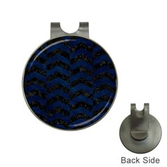 Chevron2 Black Marble & Blue Grunge Golf Ball Marker Hat Clip by trendistuff