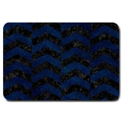 Chevron2 Black Marble & Blue Grunge Large Doormat by trendistuff