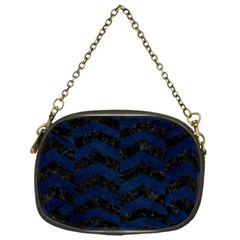 Chevron2 Black Marble & Blue Grunge Chain Purse (one Side) by trendistuff