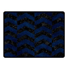 Chevron2 Black Marble & Blue Grunge Fleece Blanket (small) by trendistuff