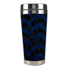Chevron2 Black Marble & Blue Grunge Stainless Steel Travel Tumbler by trendistuff