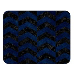 Chevron2 Black Marble & Blue Grunge Double Sided Flano Blanket (large) by trendistuff