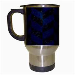 Chevron1 Black Marble & Blue Grunge Travel Mug (white) by trendistuff