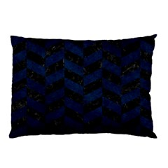 Chevron1 Black Marble & Blue Grunge Pillow Case by trendistuff