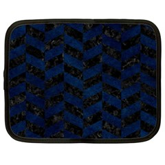 Chevron1 Black Marble & Blue Grunge Netbook Case (xxl) by trendistuff