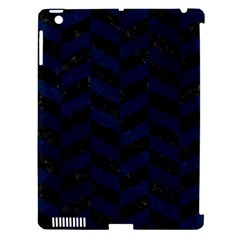 Chevron1 Black Marble & Blue Grunge Apple Ipad 3/4 Hardshell Case (compatible With Smart Cover) by trendistuff