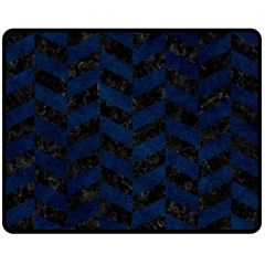 Chevron1 Black Marble & Blue Grunge Double Sided Fleece Blanket (medium) by trendistuff