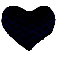 Chevron1 Black Marble & Blue Grunge Large 19  Premium Flano Heart Shape Cushion by trendistuff