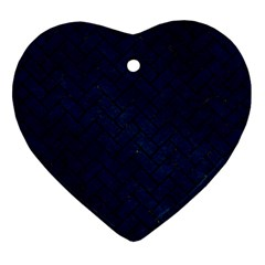 Brick2 Black Marble & Blue Grunge (r) Heart Ornament (two Sides) by trendistuff