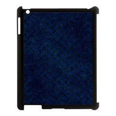 Brick2 Black Marble & Blue Grunge (r) Apple Ipad 3/4 Case (black) by trendistuff