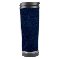 Brick2 Black Marble & Blue Grunge (r) Travel Tumbler by trendistuff