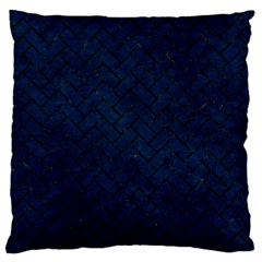 Brick2 Black Marble & Blue Grunge (r) Large Flano Cushion Case (one Side) by trendistuff