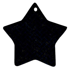 Brick2 Black Marble & Blue Grunge Star Ornament (two Sides) by trendistuff