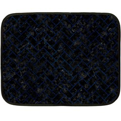 Brick2 Black Marble & Blue Grunge Fleece Blanket (mini) by trendistuff