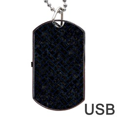 Brick2 Black Marble & Blue Grunge Dog Tag Usb Flash (one Side) by trendistuff