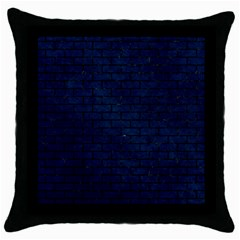 Brick1 Black Marble & Blue Grunge (r) Throw Pillow Case (black) by trendistuff