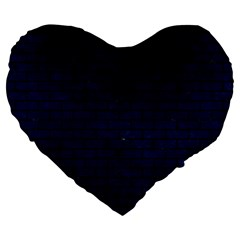 Brick1 Black Marble & Blue Grunge (r) Large 19  Premium Flano Heart Shape Cushion by trendistuff