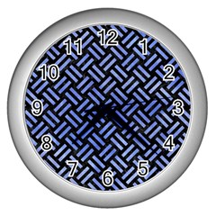 Woven2 Black Marble & Blue Watercolor Wall Clock (silver) by trendistuff
