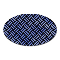 Woven2 Black Marble & Blue Watercolor Magnet (oval) by trendistuff