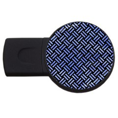 Woven2 Black Marble & Blue Watercolor Usb Flash Drive Round (4 Gb) by trendistuff