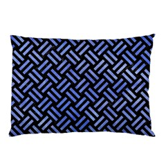Woven2 Black Marble & Blue Watercolor Pillow Case (two Sides) by trendistuff