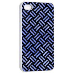 Woven2 Black Marble & Blue Watercolor Apple Iphone 4/4s Seamless Case (white) by trendistuff