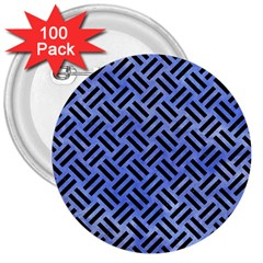 Woven2 Black Marble & Blue Watercolor (r) 3  Button (100 Pack) by trendistuff
