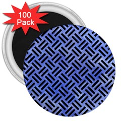 Woven2 Black Marble & Blue Watercolor (r) 3  Magnet (100 Pack) by trendistuff