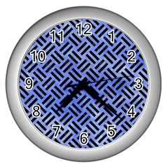Woven2 Black Marble & Blue Watercolor (r) Wall Clock (silver) by trendistuff
